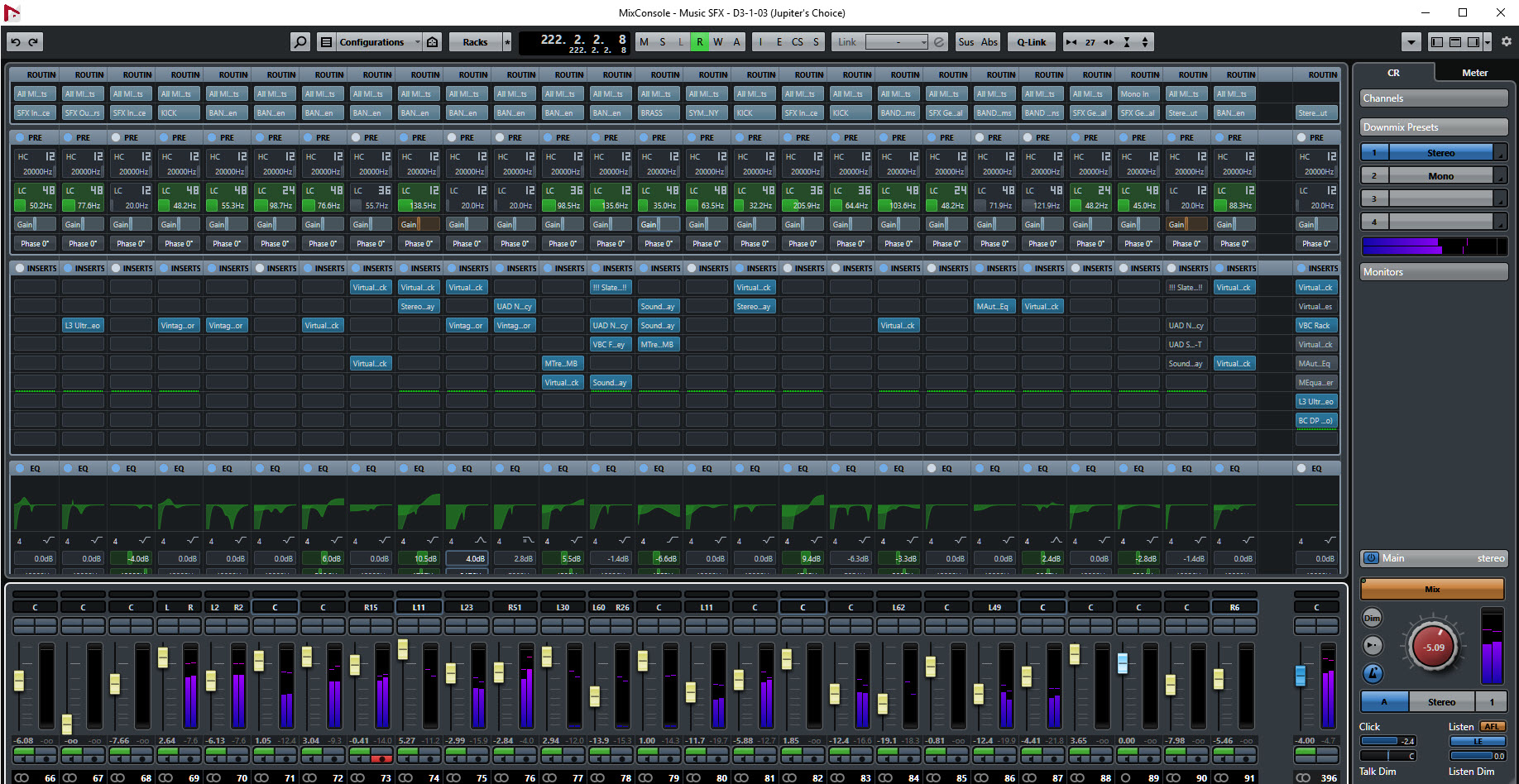 — Image above of a section of Steinberg audio-production software 'Nuendo' DAW — audio mixer window for 'Jupiter's Choice' online slot game, with over 200 audio tracks of digital instruments, audio recordings, voice overs and sound effects) —